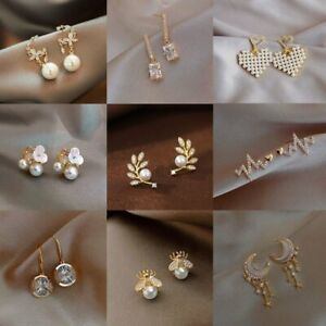 Fashion Crystal Zircon Pearl Earrings Dangle Ear Stud Women Wedding Jewelry Gift