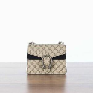 GUCCI  Dionysus GG Supreme Mini Bag In Black & Beige