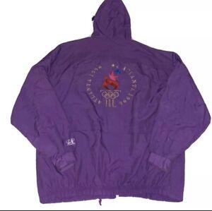 1996 Atlanta Olympics Purple Nylon LOGO Athletic Windbreaker XL Jacket Vintage