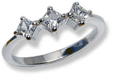 Three Stone Band Ring 10k White Gold Princess Cut CZ's