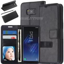 Samsung Galaxy S8 Plus Slim Genuine Leather Flip Wallet Stand Battery Case Cover