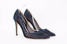 GIANVITO ROSSI NEW Black Blue Crystal Rhinestone Mesh Point Toe Pumps 8/8.5/39