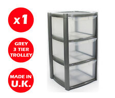 3 DRAWER PLASTIC STORAGE DRAWER - CHEST UNIT - TOWER - WHEELS - TOYS - SILVER