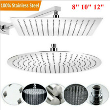 "8"" - 12"" Large Round Square Stainless Steel Shower Head Overhead Rainfall Chrome"