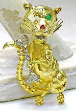 Vintage 18k Yellow White Gold Diamond Ruby Emerald Tiger & Bone Pin brooch Italy