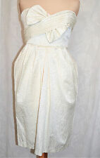 MONSOON FUSION Pretty Strapless Lined dress Size 8 Ivory Cotton Mix Ex Con Clean