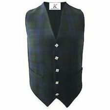 Mens Scottish  Irish Waistcoat in Black Watch Tartan With Thistle Buttons