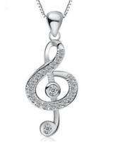 Sterling Silver G Clef Pendant Treble Music Note Cubic Zircon Symbol Necklace L1