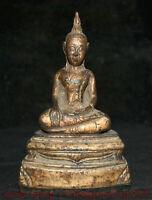 "6.4 ""Bouddhisme Ancien Bronze Doré Thaïlande Shakyamuni Amitabha Bouddha Statue"