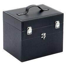 Nail Tech Faux Leather Beauty Vanity Case Makeup Box Black Travel Bag Luggage