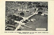 Zürich mit Qauibrücke und Bauschänzli (Ballonaufnahme) Historische Aufnahme 1908