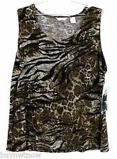 NWT Laura Ashley Trip Ready Wrinkle Free Xl Sleeveless Top Animal Print $68 Msrp