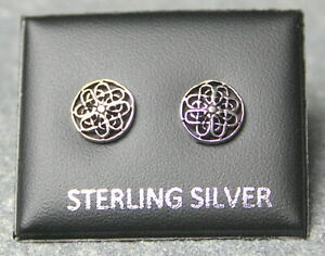 STERLING SILVER 925, STUD EARRINGS CELTIC ROUND 8mm WITH BUTTERFLY BACKS ST 194