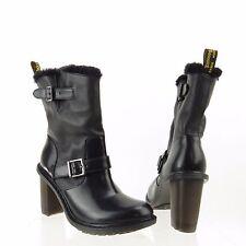 Women's Dr.Martens Hanna Shoes Black Leather Fur Boots Size 6 M, EU 37 NEW!