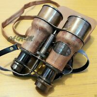 Binoculars Antique Brass Leather Belt With Leather Cover Collectible