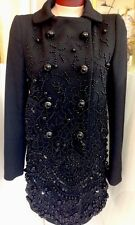Prada Coat Black Heavy Beaded Wool Size 40 NWT$10,050