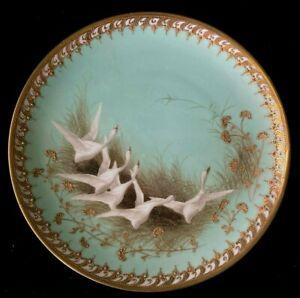 "Antique Nippon Swan Plate Aqua Gold Moriage Jewels 9 1/4"" Maple Leaf Mark"