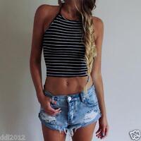 Sexy Women Summer Vest Crop Top Sleeveless Shirt Blouse Casual Tank Tops T-Shirt