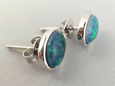 Australian Lightning Ridge Triplet Opal Stud Earrings Sterling Silver w Cert