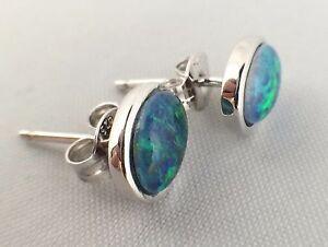 Australian Lightning Ridge Triplet Opal Stud Earrings Sterling Silver w Cert