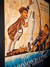 bourvil  louis de funes POISSON D'AVRIL ! affiche cinema peche  1954