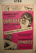 DRACULA PRINCE OF DARKNESS/PLAGUE OF THE ZOMBIES Orig, 1sh Movie Poster 1966