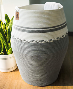 Goodpick Laundry Hamper | Dirty Clothes Hamper | Woven Cotton Rope Tall Laundry