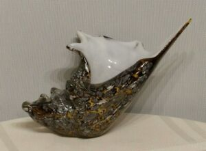 SPI Glass Conch Shell Statue/Paperweight Gold Black Silver white Inside NICE!
