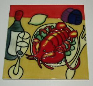 "Red Lobster Art Tile 8"" x 8"" New Decorative Ceramic Wine Dinner 8 Inch"