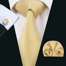 Gelb Weiß Schlangenoptik Seide Krawatte Set Einstecktuch Knöpfe Hochzeit K456