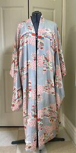Vintage Silk Kimono, Lined, Lovely, Fits Like A Large