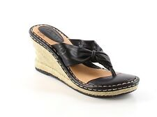 NEW Born Concept Black Leather Wedge Espadrille Thong Sandals Size 6