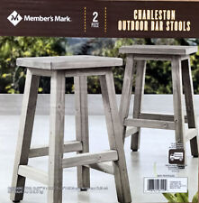 New 2 pc Member's Mark Charleston Outdoor Wooden Bar Stools Patio Garden Chairs