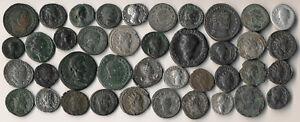 40 ANCIENT ROMAN COINS (COPPERS & SILVERS >> EXCELLENT LOT !!) NO RESERVE