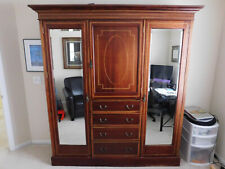 LARGE ANTIQUE MAHOGANY ENGLISH ARMOIRE - ONE OF A KIND!ORIGINAL BEVELED MIRRORS!
