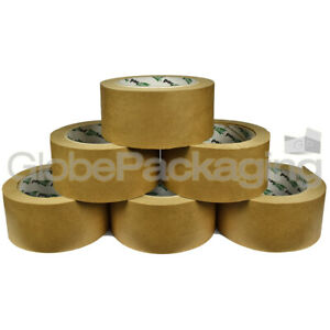 6 Rolls Of Brown KRAFT PAPER TAPE 50mm x 50M - 100% Recyclable & Biodegradable