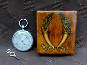 """Antique""""Fine Silver""""Fob / Pocket Watch with Silver Dial in Wooden Folding Stand"""