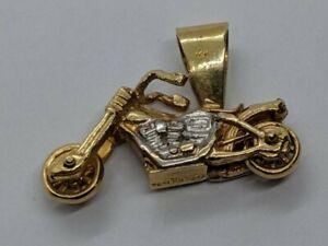 14k Yellow & White Gold Motorcycle Pendant Apprx 0.02 TCW Round Genuine Diamond