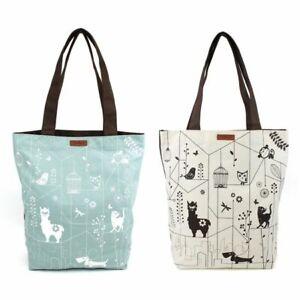 New 2 Pc Chala ECO TOTE Shopping Bag  White Green Holiday gift Llama Cat Dog etc