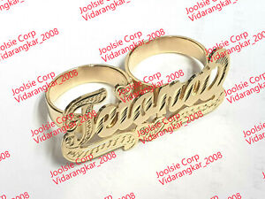 PERSONALIZED 14K YELLOW GOLD PLATED TWO 2 FINGER NAME RING /ANY NAME / ANY SIZE