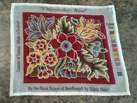 "Ehrman/RSN ""Chippendale Rose"" 12""x14"" completed needlepoint canvas"