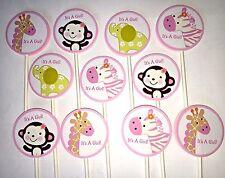 30 JUNGLE JILL IT'S A GIRL SAFARI NOAH ANIMALS Cupcake Toppers  Baby Shower 30