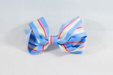 Unit of 10 Medium 3 Inch Sky Blue/White/Pink Stripe Hair Bow Clips Grosgrain