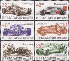 BULGARIE 1986 Bugatti/Ferrari/Mercedes/Voitures de Course/Sports/transport 6 V Set s5359