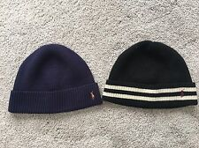 Polo Ralph Lauren Merino Wool Beanie Navy Blue Black Preowned Dry Clean LOT of 2