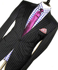 LUSSO Da Uomo Hugo Boss ITALIANA fatta bene Navy chalkstripe Suit 40R W32 x L30