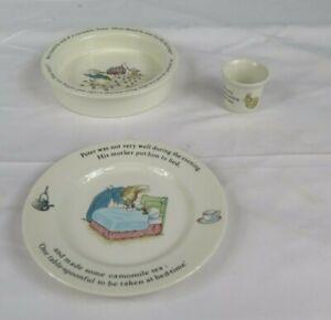 Wedgwood Beatrix Potter X3 Peter Rabbit Bowl Egg Cup Side Tea Plate Bundle