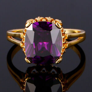 Fashion Amethyst Cushion Princess 18K Gold Plated Rings Wedding Party Jewelry