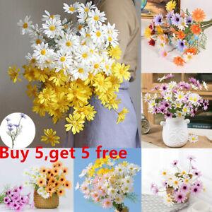 5 Head Artificial Silk Fake Daisy Flowers Bouquet Wedding Party Home Grave Decor