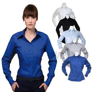 Kustom Kit Ladies Corporate Long Sleeve Oxford Shirt Business Office Wear KK702